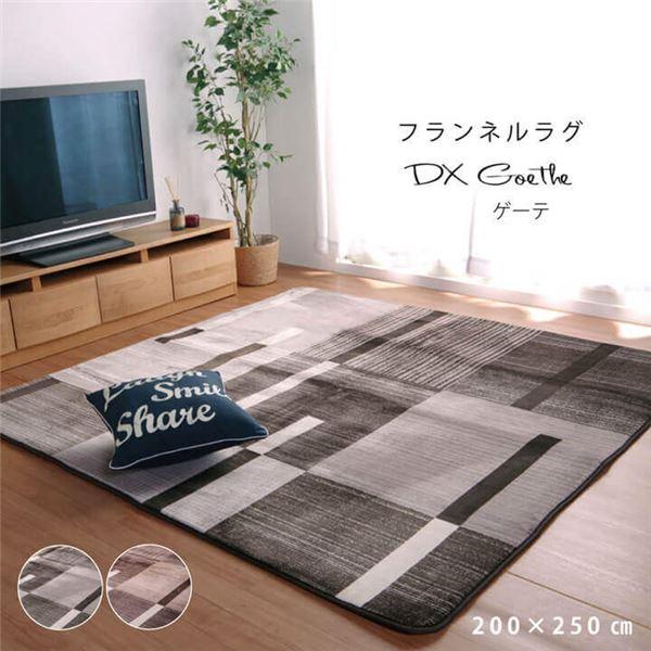 ラグマット/絨毯 【ブラウン 約200×250cm】 長方形 洗える キズ防止加工 ホットカーペット対応 『DXゲーテ』 〔リビング〕