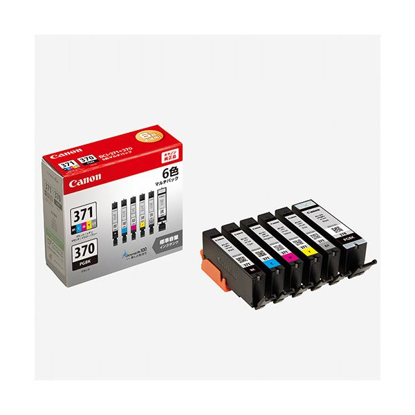 (まとめ)キヤノン インクタンクBCI-371+370/6MP(BK/C/M/Y/GY)+(顔料BK) 6色マルチパック 0732C0041箱(6個:各色1個)【×3セット】
