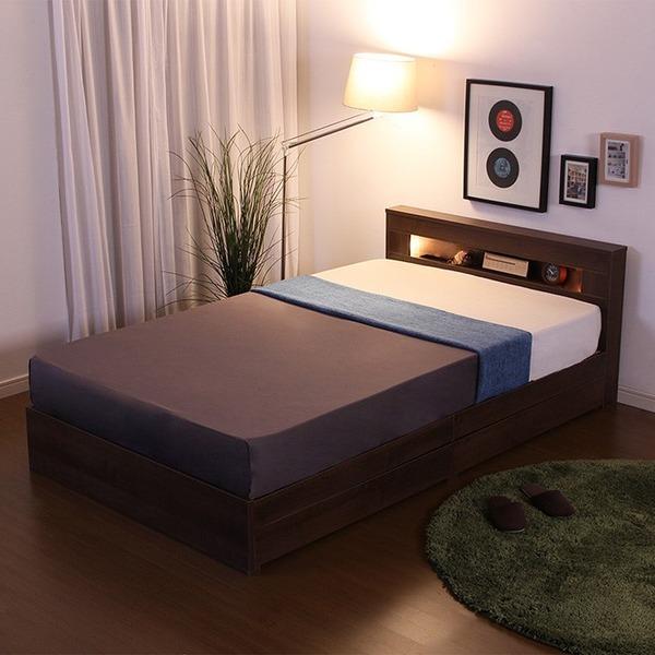 宮付き 照明付き 収納付きベッド セミダブル (フレームのみ) ウォールナット 二口コンセント ベッドフレーム【代引不可】