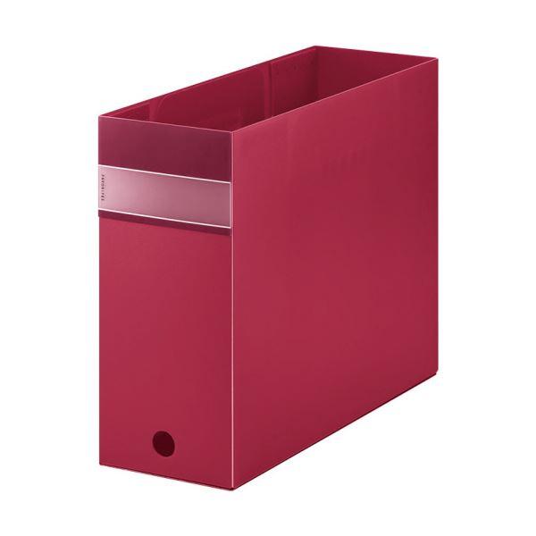 (まとめ) キングジム FAVORITESボックスファイル(透明) A4ヨコ 収納幅100mm 赤 FV4903Tアカ 1個 【×10セット】