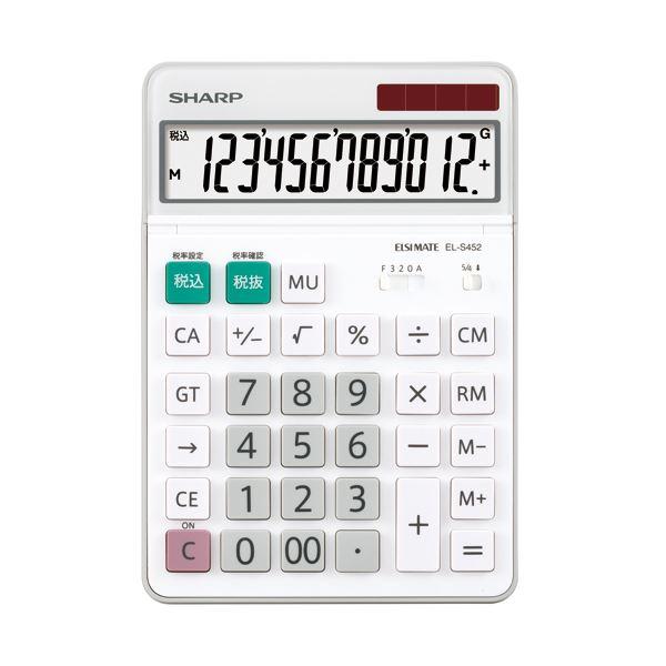 (まとめ) シャープ エルシーメイト電卓 12桁セミデスクトップ EL-S452-X 1台 【×10セット】