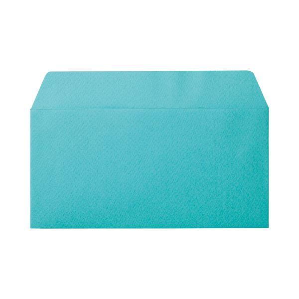 (まとめ) 寿堂 カラー横型封筒 110×220mm 127.9g/m2 テープのり付 〒枠なし フレッシュソーダ 10352 1パック(10枚) 【×30セット】