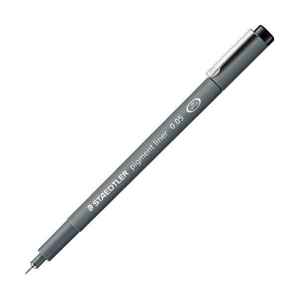 (まとめ) ステッドラー ピグメントライナー0.05mm 黒 308 005-9 1セット(10本) 【×5セット】