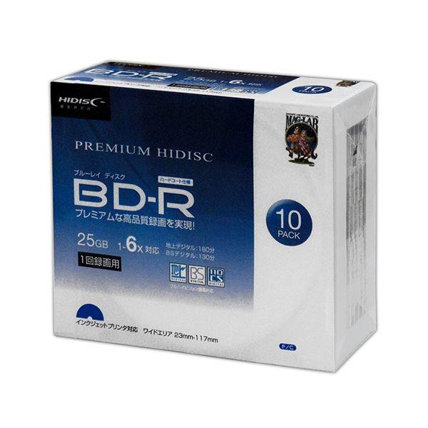 (まとめ)HIDISC BD-R 6倍速 映像用デジタル放送対応 インクジェットプリンタ対応10枚5mmスリムケース入り 【×10個セット】 HDVBR25RP10SCX10