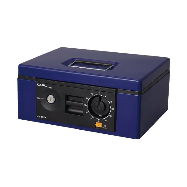 (まとめ)カール事務器 キャッシュボックス CB-8670-B ブルー B5(×3セット)