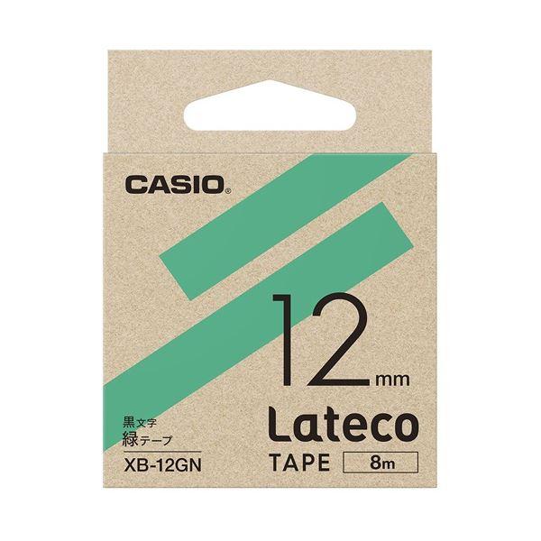 (まとめ)カシオ計算機 ラテコ専用テープXB-12GN緑に黒文字(×30セット)