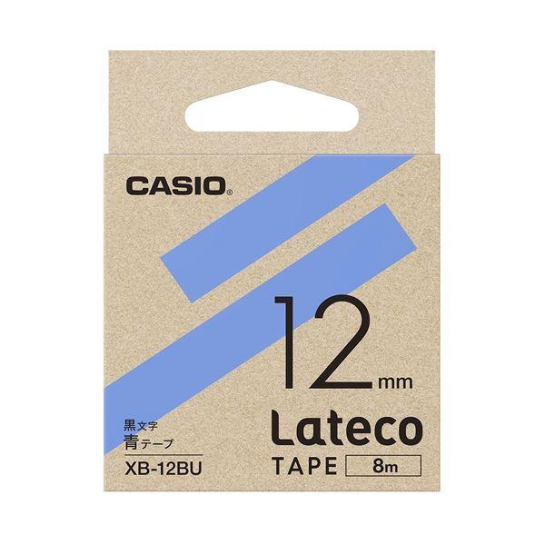 (まとめ)カシオ計算機 ラテコ専用テープXB-12BU青に黒文字(×30セット)