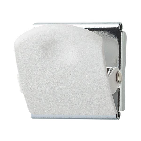 (まとめ) TANOSEE 超強力マグネットクリップM ホワイト 1個 【×50セット】