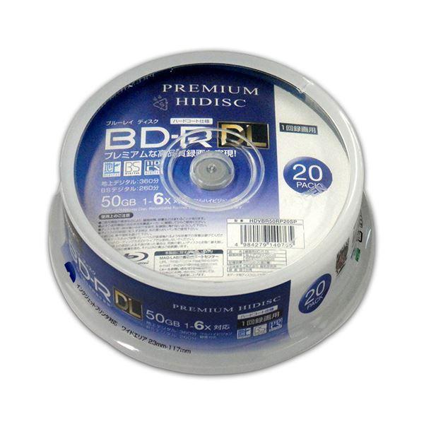 (まとめ)PREMIUM HIDISC BD-R DL 1回録画 6倍速 50GB 20枚 スピンドルケース 【×10個セット】 HDVBR50RP20SPX10