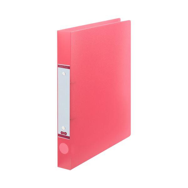 【スーパーセールでポイント最大44倍】(まとめ) TANOSEEOリングファイル(半透明表紙) A4タテ リング内径25mm ピンク 1セット(10冊) 【×10セット】