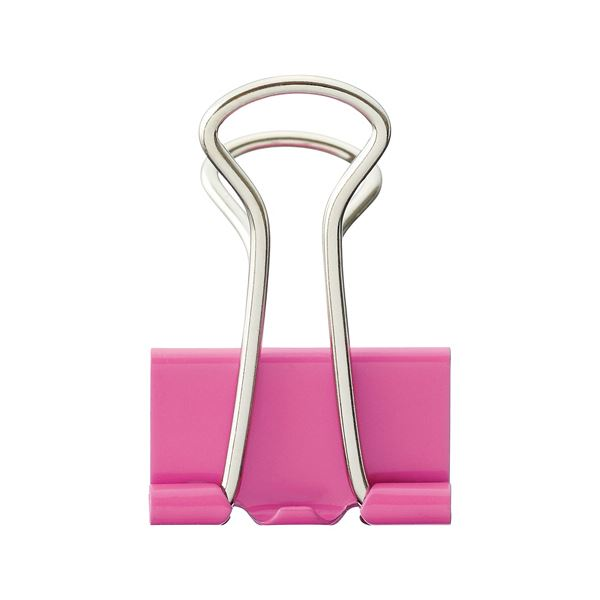 (まとめ) TANOSEE ダブルクリップ 中 口幅25mm ピンク 1箱(10個) 【×100セット】