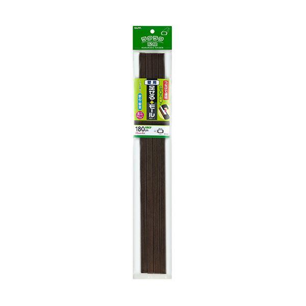 (まとめ)ELPA 足せるモール 壁用ミニ45cm テープ付 木目調ダーク PSM-M045P4(DK)1パック(4本)【×10セット】