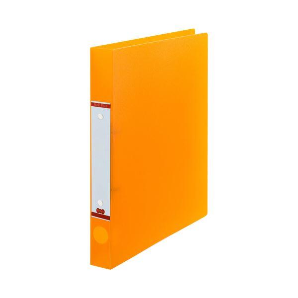 (まとめ) TANOSEEOリングファイル(半透明表紙) A4タテ リング内径25mm オレンジ 1セット(10冊) 【×10セット】