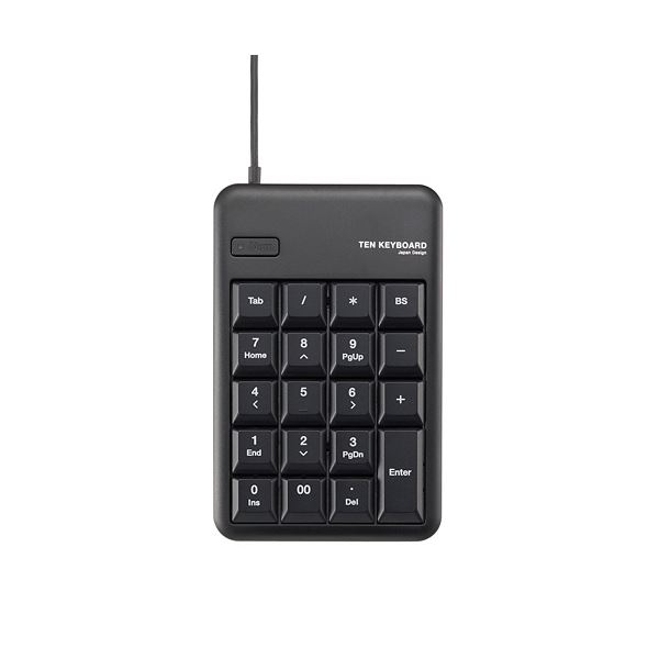 (まとめ) エレコム テンキーパッド メンブレンUSB2.0ハブ付 ブラック TK-TCM012BK 1個 【×10セット】