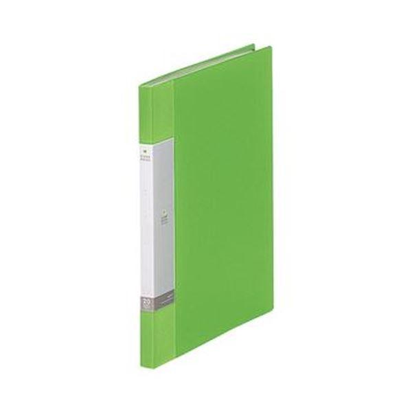 (まとめ)リヒトラブ リクエスト クリヤーブックA4タテ 20ポケット 背幅16mm 黄緑 G3201-6 1セット(10冊)【×5セット】