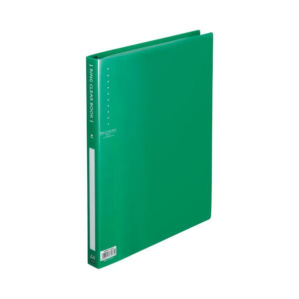 (まとめ) TANOSEE リングクリヤーブック(クリアブック) A4タテ 30穴 10ポケット付属 背幅25mm グリーン 1セット(10冊) 【×5セット】