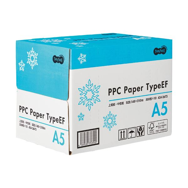 (まとめ) TANOSEE PPC PaperType EF A5 1箱(5000枚:500枚×10冊) 【×5セット】
