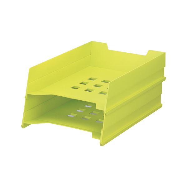 【スーパーセールでポイント最大44倍】(まとめ)LIHITLAB マルチレタートレー A-7300-6 黄緑【×30セット】