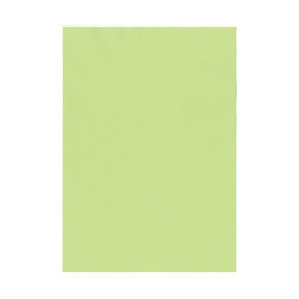 (まとめ) 北越コーポレーション 紀州の色上質A4T目 薄口 鶯 1冊(500枚) 【×5セット】