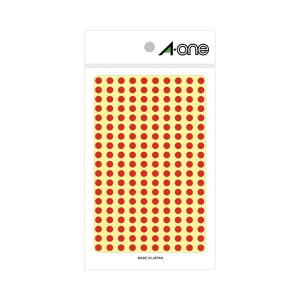 (まとめ) エーワン カラーラベル 丸型 直径5mm赤 07061 1パック(1800片:200片×9シート) 【×30セット】