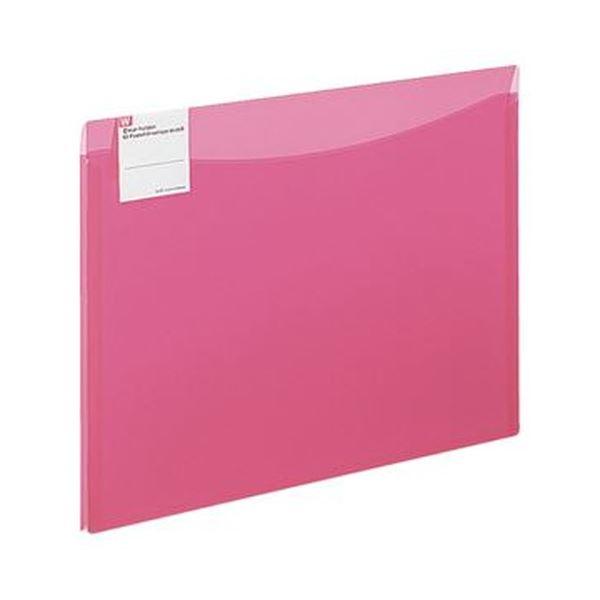 (まとめ)コクヨ クリヤーホルダー(2ポケットエンベロープワイド)A4 マチ付 ピンク フ-5771P 1セット(5枚)【×20セット】