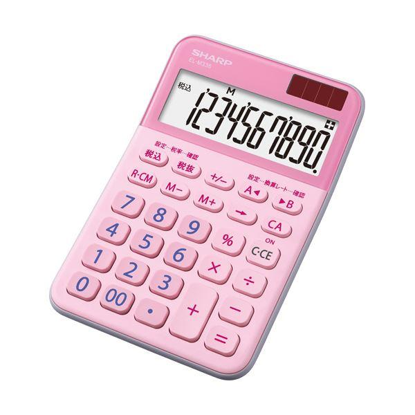 (まとめ) シャープ カラー・デザイン電卓 10桁ミニナイスサイズ ピンク EL-M335-PX 1台 【×10セット】