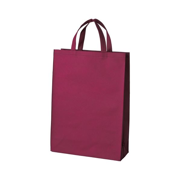 (まとめ)スマートバリュー 不織布手提げバッグ中10枚ワイン B451J-WN【×5セット】