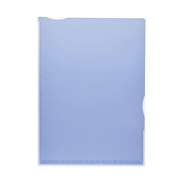 (まとめ)TANOSEE 超丈夫なマチ付クリアホルダー タフレル A4タテ ブルー 1パック(5枚)【×10セット】