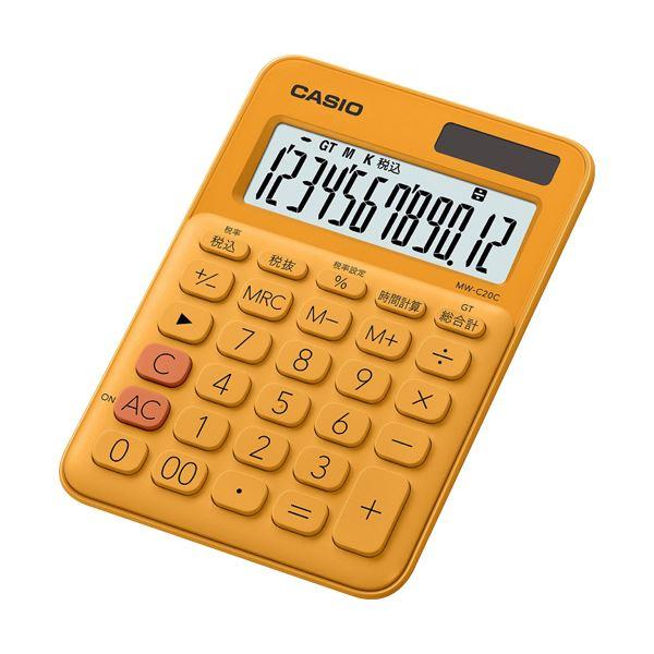 (まとめ) カシオ カラフル電卓 ミニジャストタイプ12桁 オレンジ MW-C20C-RG-N 1台 【×10セット】