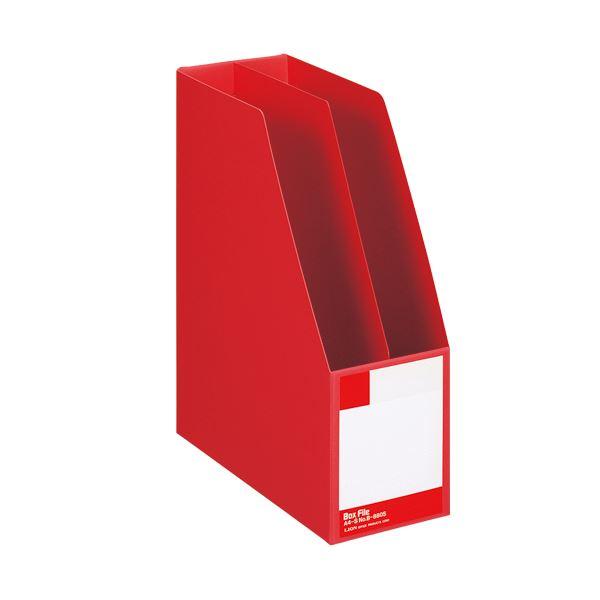 (まとめ) ライオン事務器 ボックスファイル 板紙製A4タテ 背幅105mm 赤 B-880S 1冊 【×10セット】