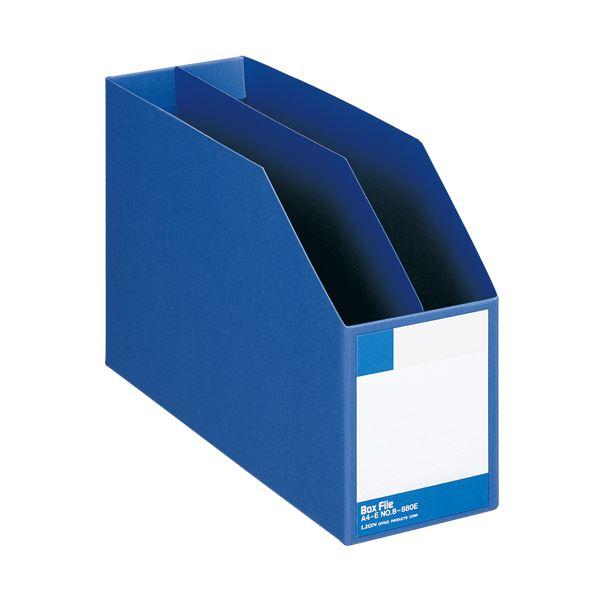 (まとめ) ライオン事務器 ボックスファイル 板紙製A4ヨコ 背幅105mm 青 B-880E 1冊 【×10セット】