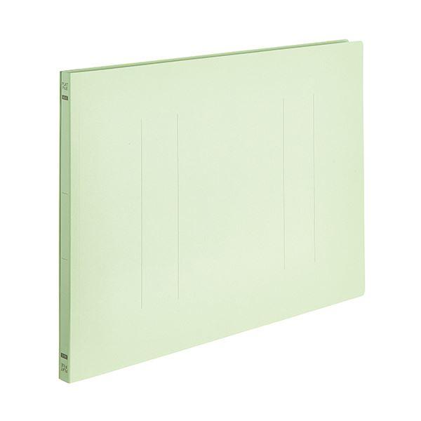 (まとめ) TANOSEEフラットファイルE(エコノミー) A3ヨコ 150枚収容 背幅18mm グリーン 1パック(10冊) 【×10セット】