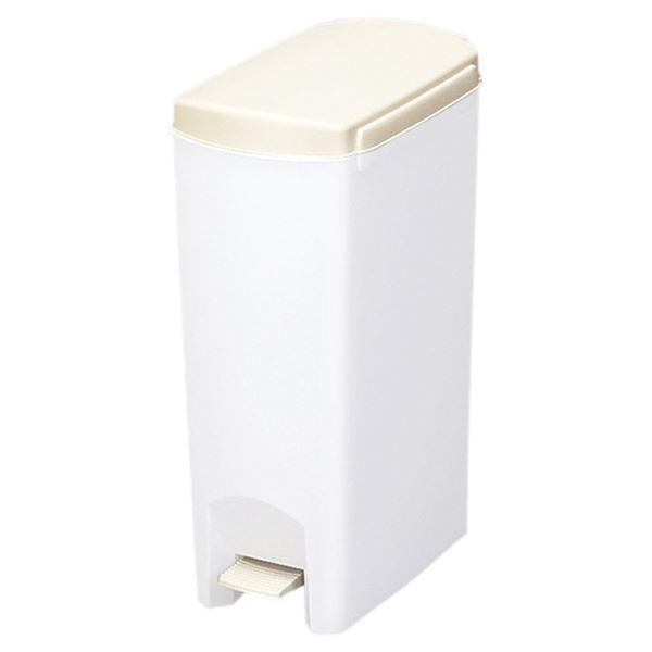 (まとめ) ペダル式 ゴミ箱/ダストボックス 【15L ホワイト】 フタ付き スリム 『セパ』 【×6個セット】