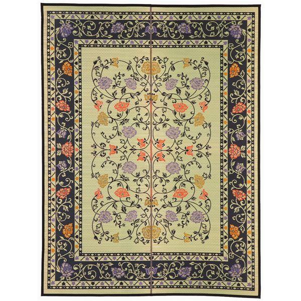 国産い草 ラグマット/絨毯 【約191×250cm ナチュラル×ブラック】 日本製 縁:綿100% 『イデア』 〔リビング〕【代引不可】