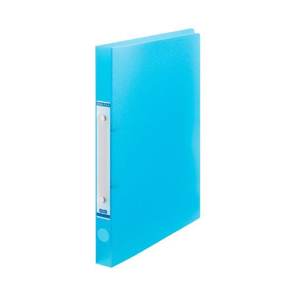 【スーパーセールでポイント最大44倍】(まとめ) TANOSEEOリングファイル(半透明表紙) A4タテ リング内径20mm ブルー 1セット(10冊) 【×10セット】