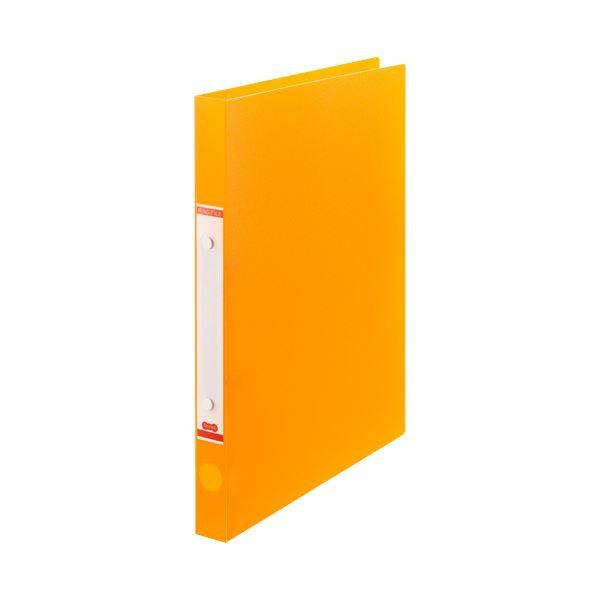 (まとめ) TANOSEEOリングファイル(半透明表紙) A4タテ リング内径20mm オレンジ 1セット(10冊) 【×10セット】