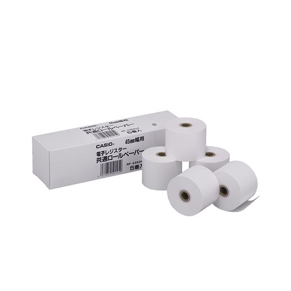 (まとめ) カシオ 電子レジスター用 ロールペーパー紙幅45mm RP-4560X5 1パック(5個) 【×30セット】