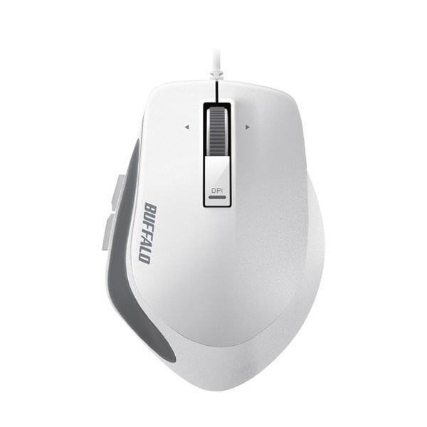 (まとめ) バッファロー 有線 BlueLEDプレミアムフィットマウス Mサイズ ホワイト BSMBU500MWH 1個 【×10セット】