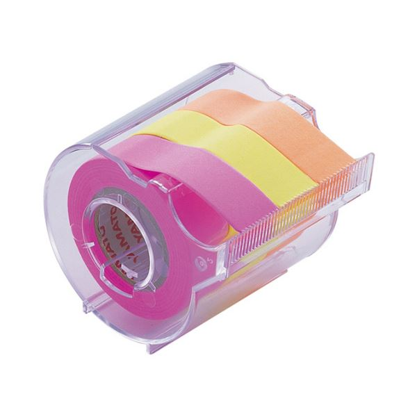 【スーパーセールでポイント最大44倍】(まとめ) ヤマト メモック ロールテープ カッター付 15mm幅 オレンジ&レモン&ローズ RK-15CH-C 1個 【×30セット】