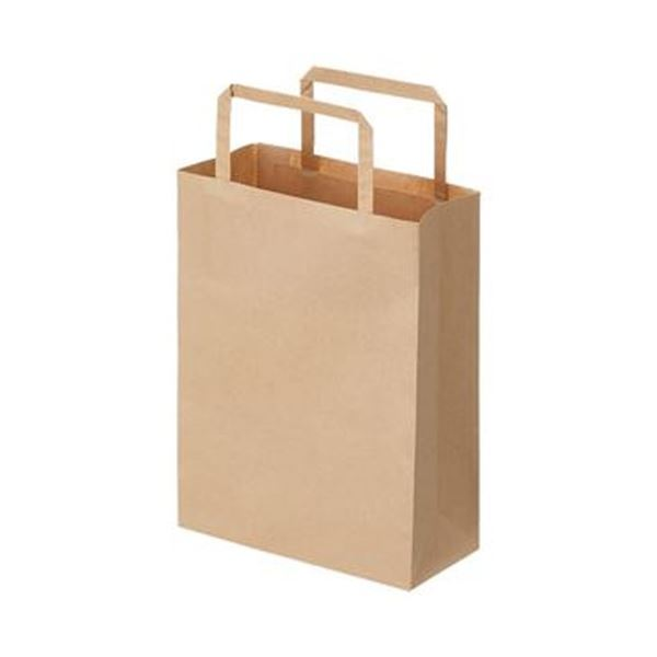 (まとめ)TANOSEE 紙手提袋 平紐 極小ヨコ180×タテ240×マチ幅80mm 茶無地 1セット(300枚:50枚×6パック)【×3セット】