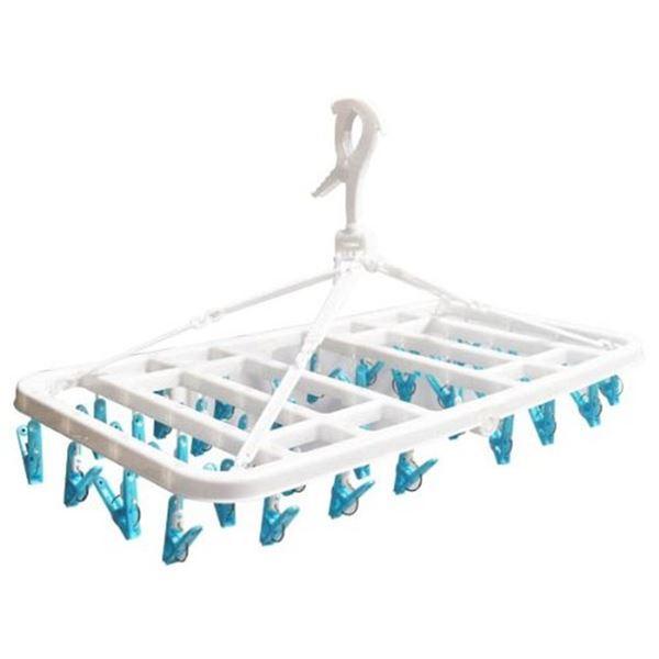 【スーパーセールでポイント最大44倍】(まとめ) 大容量 洗濯ハンガー/ピンチハンガー 【36ピンチ ブルー】 伸縮ベルト付 ピンチからまん 【×15個セット】