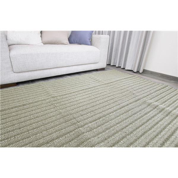 防ダニ ラグマット/絨毯 【185×240cm 長方形 オリーブ】 日本製 洗える 防滑 『スミノエ ナチュール』 〔リビング ダイニング〕【代引不可】