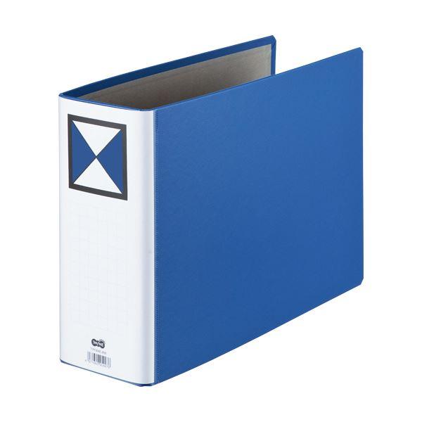 (まとめ) TANOSEE 両開きパイプ式ファイルA4ヨコ 600枚収容 60mmとじ 背幅72mm 青 1冊 【×10セット】