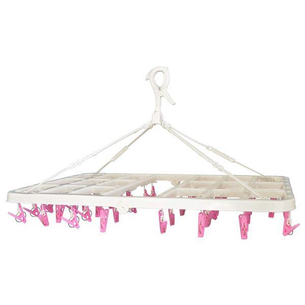 (まとめ) 大容量 洗濯ハンガー/ピンチハンガー 【ジャンボ 46ピンチ ピンク】 伸縮ベルト付 ピンチからまん 【×11個セット】