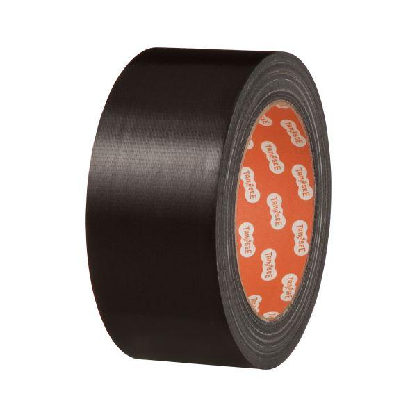 (まとめ) TANOSEE 布テープ(カラー) 50mm×25m 黒 1巻 【×30セット】