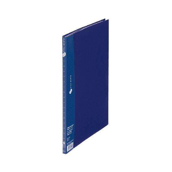 (まとめ) プラス クリアーファイルスーパーエコノミータイプ A4タテ 10ポケット 背幅10mm ネイビー FC-121EL 1冊 【×50セット】