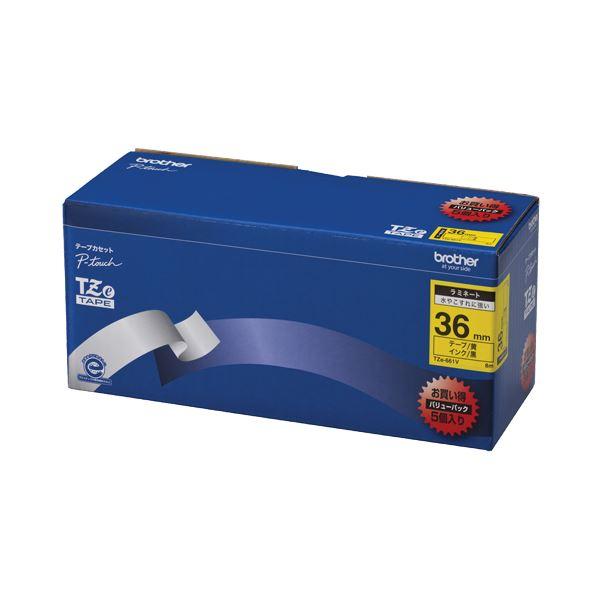 (まとめ)ブラザー BROTHER ピータッチ TZeテープ ラミネートテープ 36mm 黄/黒文字 業務用パック TZE-661V 1パック(5個)【×3セット】