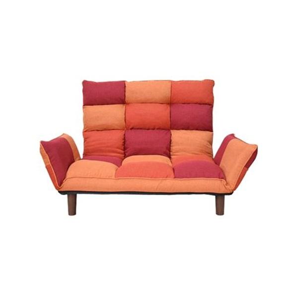 愛用  パッチワークカウチソファー オレンジ W117-159XD72-95XH29-83(SH29)cm, オオノマチ 83ab53fd