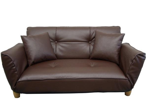 高い素材 カウチソファ PVC ブラウン 幅120-170×奥71-106×高62(27)cm, arcole(アルコレ) 4947a106