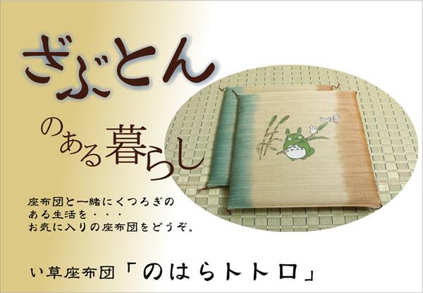 純国産 捺染返し い草座布団 『のはらトトロ 5枚組』 約55×55cm×5P